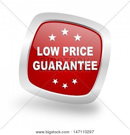 low price guarantee square glossy red chrome silver metallic web icon
