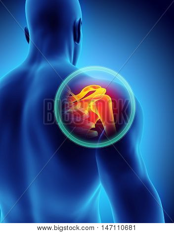 Shoulder Painful Skeleton X-ray, 3D Illustration.