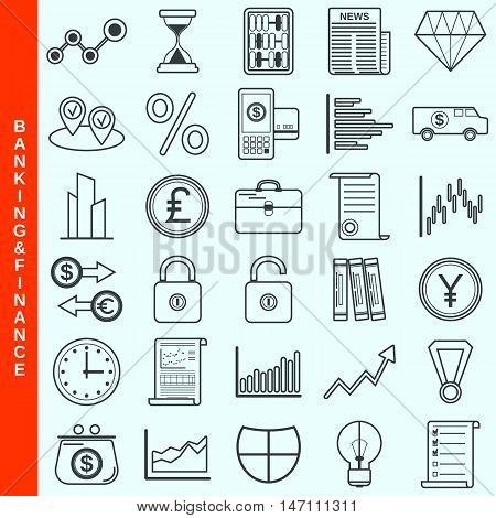 Thin line banking and finance vector icons set