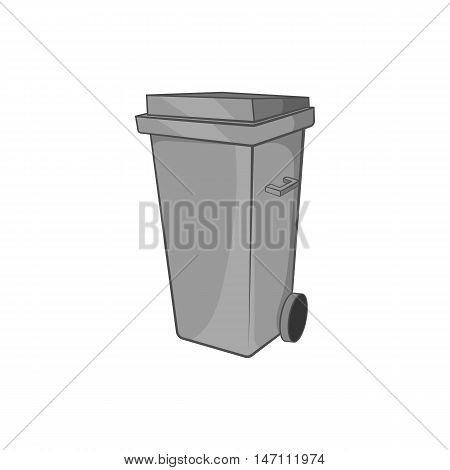 Trash can on wheels icon in black monochrome style isolated on white background. Garbage symbol vector illustration