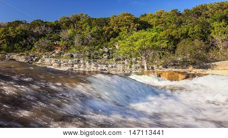 Pedernales River and Falls at Pedernales Falls State Park in Texas hill country