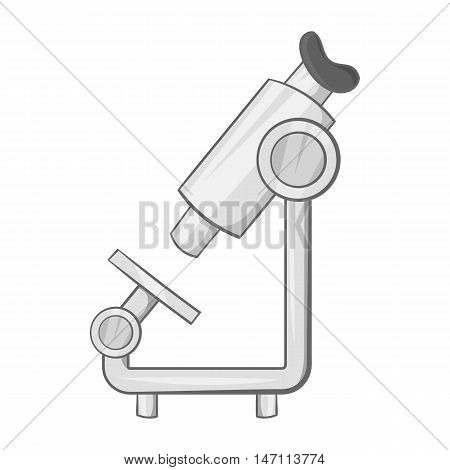 Microscope icon in black monochrome style isolated on white background. Research symbol vector illustration