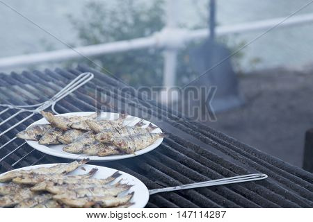 Typical Spanish, Grilled Sardines Cooked In A Grill Fire.