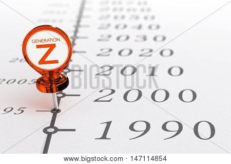 3D illustration of a timeline with special pushpin where it is written the text generation Z illustration of millenials generations born after the year 1990.