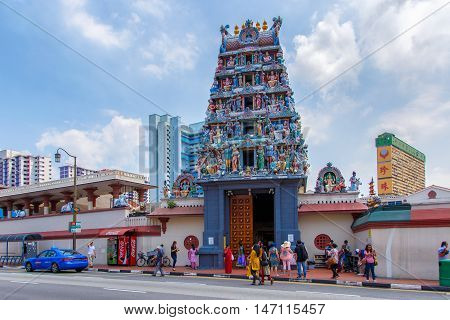 SINGAPORE - JUNE 26 2015: The Sri Veerama Kaliamman Temple in ethnic district Little India in Singapore. Little India is commonly known as Tekka in the local Tamil community.