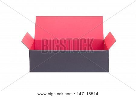 Black paper box opened isolated on white background