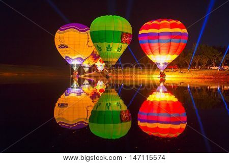 CHIANG RAI THAILAND FEBRUARY 13 2016:Singha Park Chiang Rai Balloon Fiesta 2016 will take place between February 10th and 14th at Singha Park Chiang Rai