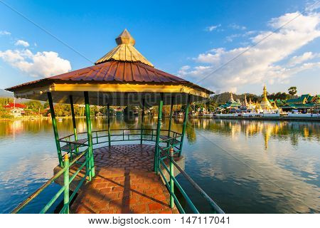 Gazebo on Nong Jong Kham pond in Mae Hong Son province Northern Thailand
