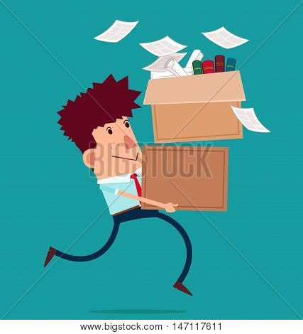 young businessman carry boxes with his work moving to new office