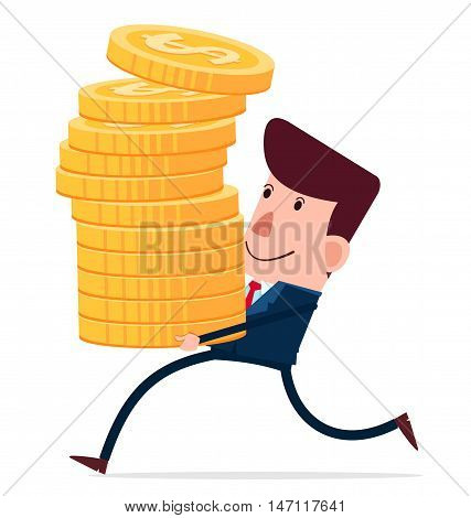 young businessman carry stack of coins vector illustration for various business concept