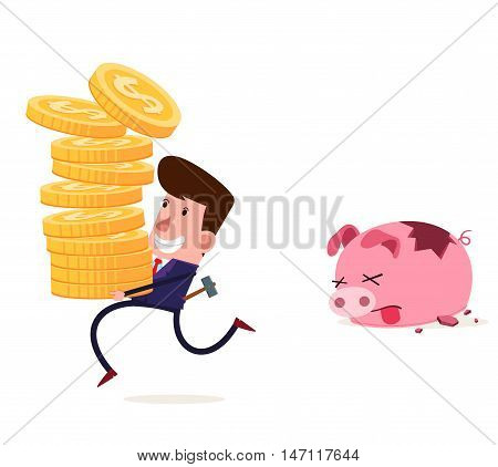 young businessman breaking his piggy bank vector illustration for various business concept