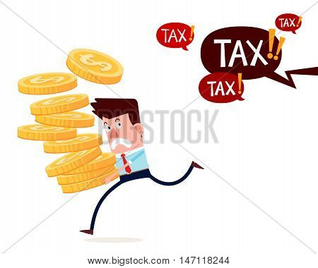 young successful businessman carry stack of gold coins running away from paying taxes