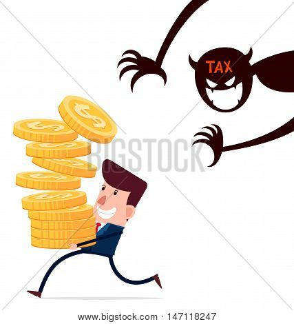 successful businessman carry stack of gold coins enjoy his hardwork haunted by taxes