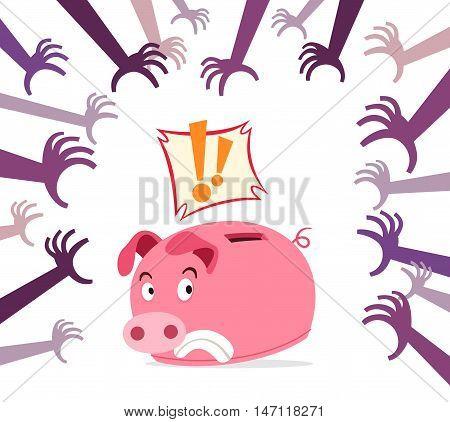 piggy bank get panic because of various threat