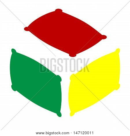 Pillow Sign Illustration. Isometric Style Of Red, Green And Yellow Icon.