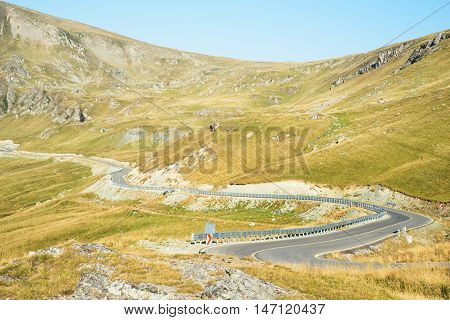 Transalpina mountain road in the  early morning