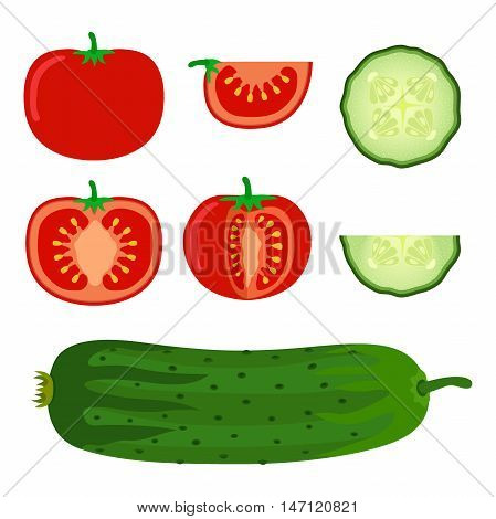 Set of vegetables - tomato and cucumber in flat style. Slices of tomato and cucumber. Vegetarian food illustration.