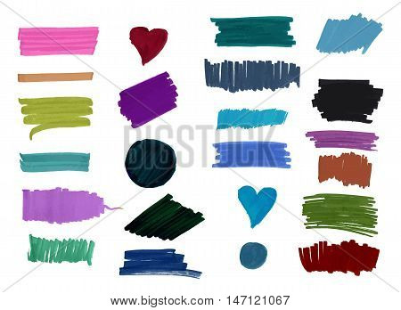 A set of watercolor or water soluble marker brush strokes in various colors and shapes. Abstract vector background textures, on white