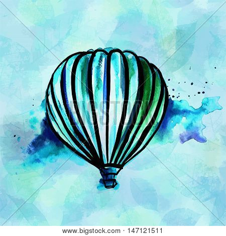 A freehand vector and watercolor, abstract retro style drawing of a hot air balloon in a blue sky, on a teal blue background with copyspace