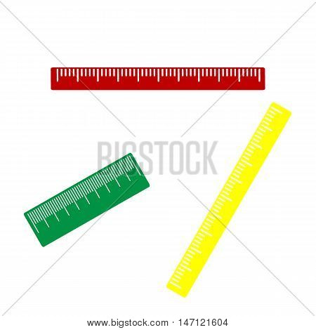Centimeter Ruler Sign. Isometric Style Of Red, Green And Yellow Icon.