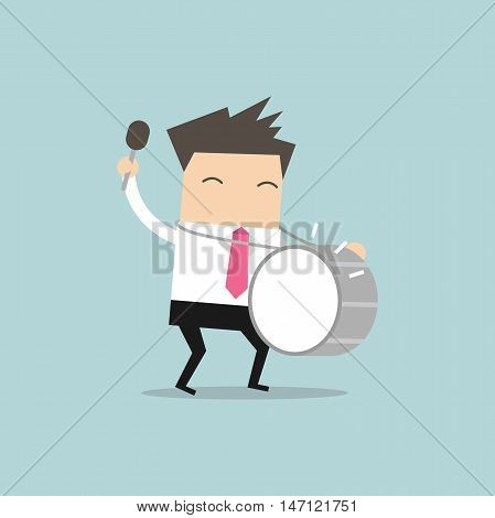Business man with big drum vector illustration