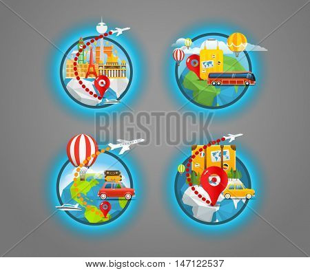 Vacation travelling icons collection. Vector travel illustration. Travel around the world