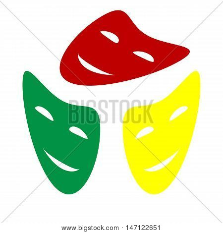 Comedy Theatrical Masks. Isometric Style Of Red, Green And Yellow Icon.