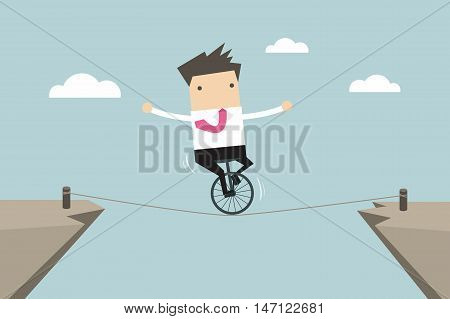 Businessman balancing on the rope vector illustration