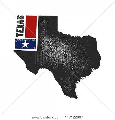 Retro distressed insignia with US state map. USA state map vector illustration.