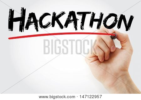 Hand writing Hackathon with marker business concept