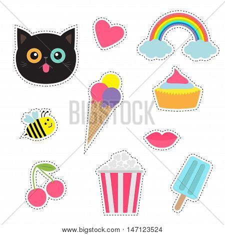 Quirky cartoon sticker patch badges set. Fashion pin collection. Cat heart rainbow cloud cupcake bee ice cream popcorn lips cherry Dash line contour Isolated Baby background. Flat design Vector