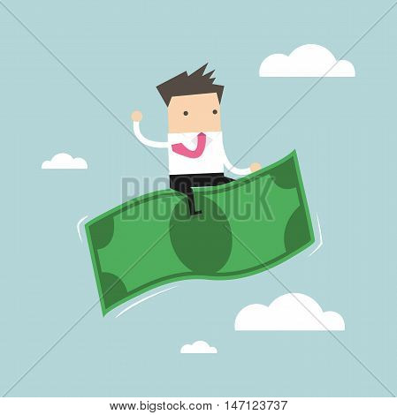 Businessman riding flying money in the sky vector