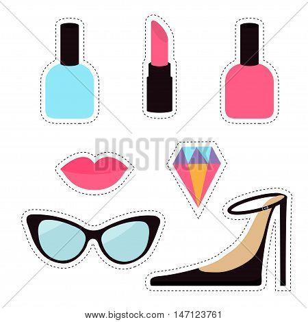 Quirky cartoon sticker patch badge set. Woman Fashion pin. Lipstick diamond gem shoes lips sunglasses eye glasses nail polish. Dash line contour. Isolated White background. Flat design Vector