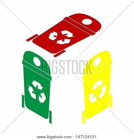 Trashcan Sign Illustration. Isometric Style Of Red, Green And Yellow Icon.