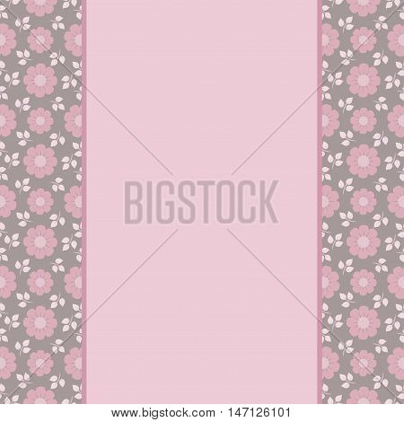 Vector greeting card template. Vintage floral print grunge striped panel and text frame. Great for Mother's Day birthday baby Easter wedding menu dinner party invitation stationery.