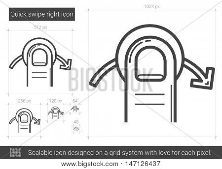 Quick swipe right vector line icon isolated on white background. Quick swipe right line icon for infographic, website or app. Scalable icon designed on a grid system.