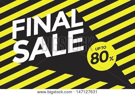 Final sale up to 80% banner. Vector illustration