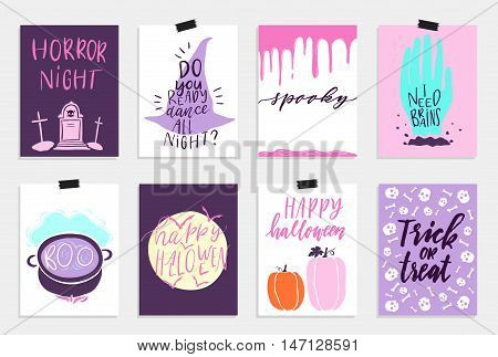 8 Halloween Cards set in quirky cartoon doodle style. Bright colors. Hand drawn lettering. Collection in cartoon comic style of 80s-90s. Vector illustration.