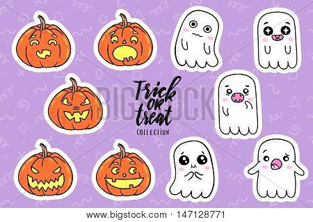 Halloween fashion quirky cartoon doodle patch badges with cute ghosts and pumpkins. Vector illustration. Set of stickers, pins, patches in cartoon comic style of 80s-90s. Vector collection