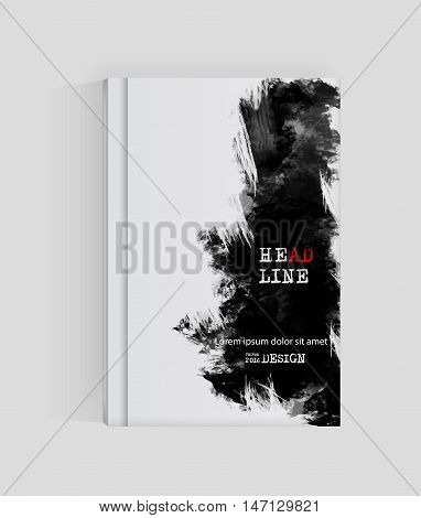 Black abstract design. Ink paint on brochure Monochrome element isolated on white. Grunge banner paints. Simple composition. Liquid ink. Background for banner card poster identityweb design.