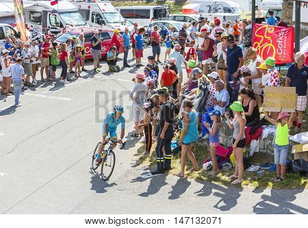 Col du Glandon France - July 23 2015: The Dutch cyclist Lieuwe Westra of Astana Team riding on the road to Col du Glandon in Alps during the stage 18 of Le Tour de France 2015.