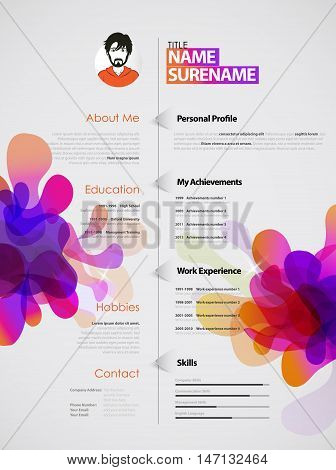 Creative color rich CV / resume template with colorful abstract splash.