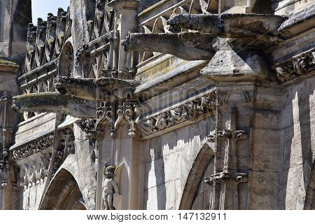 Poissy France - august 6 2016 : the historical collegiate church where  king Saint Louis was baptised