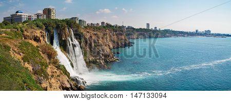panorama of Duden waterfall in Antalya Turkey