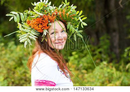 Pretty Girl And A Wreath Of Rowan