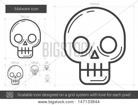 Malware vector line icon isolated on white background. Malware line icon for infographic, website or app. Scalable icon designed on a grid system.