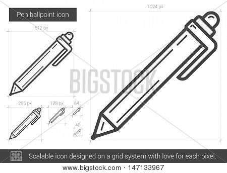 Pen ballpoint vector line icon isolated on white background. Pen ballpoint line icon for infographic, website or app. Scalable icon designed on a grid system.