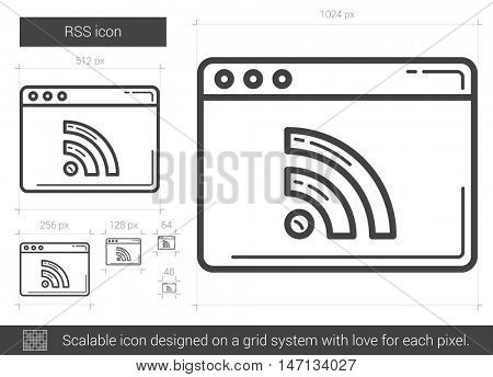 RSS vector line icon isolated on white background. RSS line icon for infographic, website or app. Scalable icon designed on a grid system.
