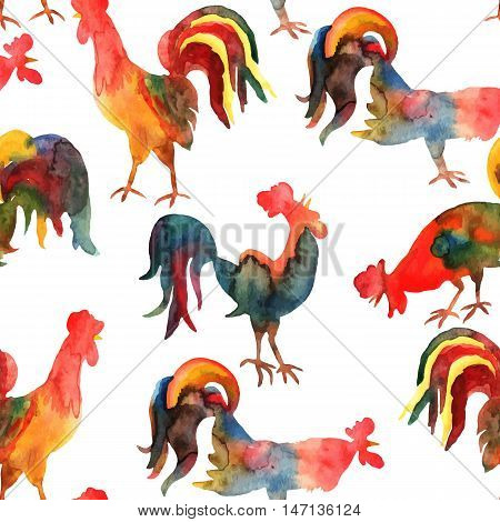 Vector seamless pattern with fire on white background. Chinese calendar Zodiac for 2017 New Year of rooster. Isolated bird drawn in watercolor.