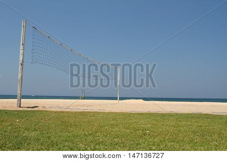 Beach Volley Ball net in sunny day beach